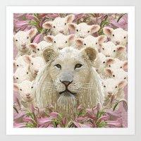 Lambs Led By A Lion Art Print