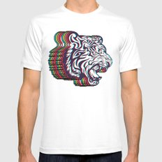 3D Tiger SMALL Mens Fitted Tee White