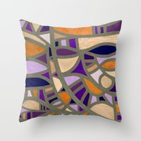Gaudy Gaudi Orange & Pur… Throw Pillow