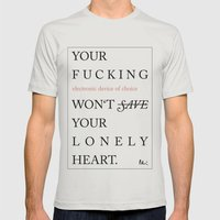 YOUR LONELY HEART Mens Fitted Tee Silver SMALL