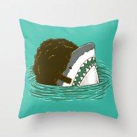 The 70's Shark Throw Pillow