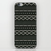 Mudcloth In Bone On Blac… iPhone & iPod Skin