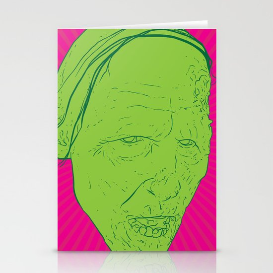 Neon Zombie Stationery Card