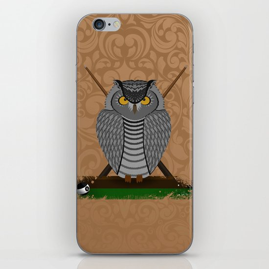 owl playing billiards iPhone & iPod Skin