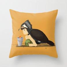 Little Black Cormorant Throw Pillow