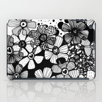 Black and White Abstract Flowers iPad Case