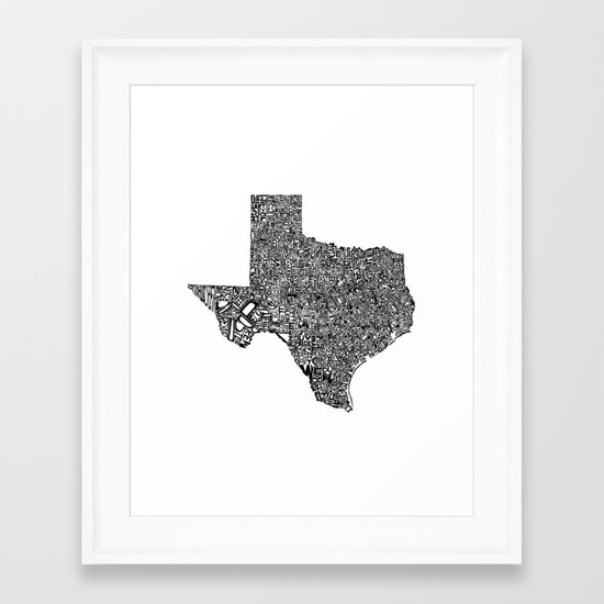 Typographic Texas Framed Art Print