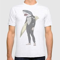 SHARK SURFER Mens Fitted Tee Ash Grey SMALL