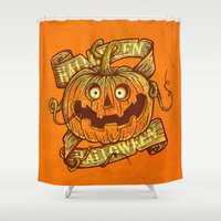 Halloween orange Shower Curtain