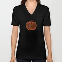 Patterned Pumpkin Unisex V-Neck