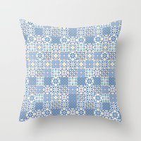 Blue Floor Tile Mashup Throw Pillow