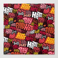Play/Hate Pattern Canvas Print