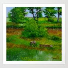 Horse and pasture, Hobultova, Ukraine Art Print