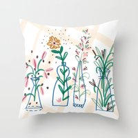 Flowers. Vase, illustration, art, print, pattern, nature, floral, still life, Throw Pillow