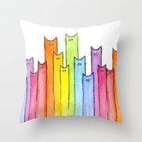 Cat Rainbow Watercolor Pattern Throw Pillow