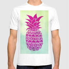 Pink Pineapple White SMALL Mens Fitted Tee