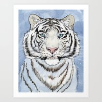 White Tiger In Blue A024 Art Print