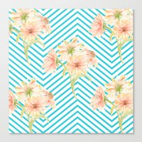 Flowers And Stripes Canvas Print