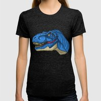 Felling Blue T-Rex - Dinosaur  Womens Fitted Tee Tri-Black SMALL
