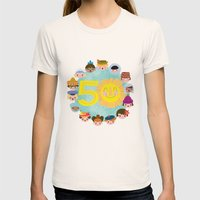 happy 50th small world! Womens Fitted Tee Natural SMALL