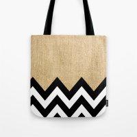 BURLAP BLOCK CHEVRON Tote Bag