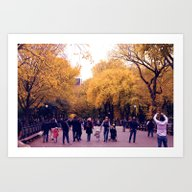 Central Park In Gold Art Print