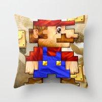 Super Mario Pixelated Realism Throw Pillow