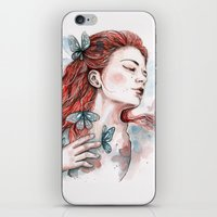 Girl With A Butterfly, W… iPhone & iPod Skin