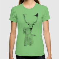 Deer Girl Womens Fitted Tee Grass SMALL