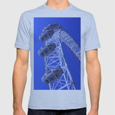 The London Eye by the River Thames Mens Fitted Tee Athletic Blue SMALL