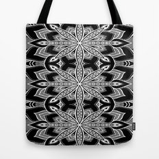 Mandala: Black Gray White Flowers Tote Bag