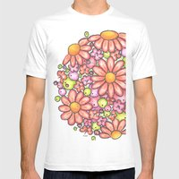 Lime And Orange Ornament Mens Fitted Tee White SMALL