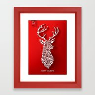 Happy Holidays - Deer Framed Art Print
