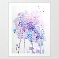 Watercolor Dolphin Art Print