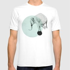 elephant White Mens Fitted Tee SMALL