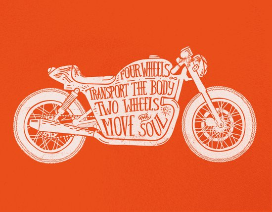 Four wheels transport the body, two wheels move the soul Canvas Print