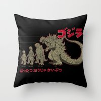 Evolution of The King of Monsters Throw Pillow