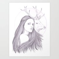 The White Deer Art Print