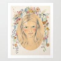 Girl with flower frame Art Print