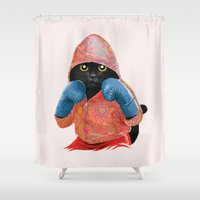 Boxing Cat 2  Shower Curtain