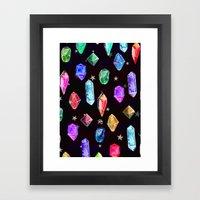 Crystals and Glitter Stars Framed Art Print