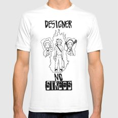 DESIGNER - NO STRESS! Mens Fitted Tee White SMALL