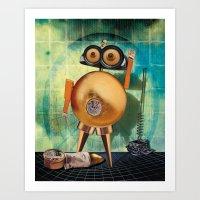 Gold Robot Art Print