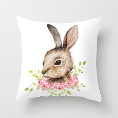 Easter Bunny With Flower… Throw Pillow