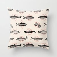 Fishes In Geometrics (Re… Throw Pillow
