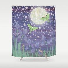 Moonlit stars, luna moths, snails, & irises Shower Curtain