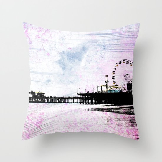 Santa Monica Pier Pink Grunge Throw Pillow / Indoor Cover (16
