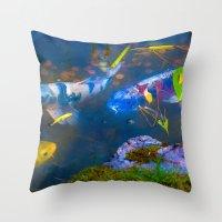 Koi Encounter Throw Pillow