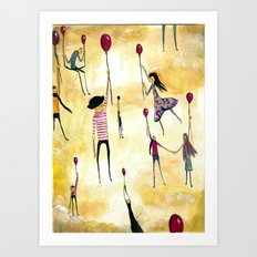 To Catch A Ride on A Red Balloon Art Print