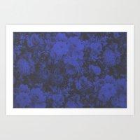 Blue Floral Halftone Pattern Art Print